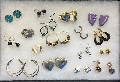 Mixed Earring Lot 17 Pairs Trifari 80's To Now 1 Pair Clip On All Others Pierced