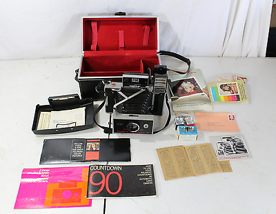 Vintage Polaroid Countdown 90 Camera With Case And Extras Flash Manuals