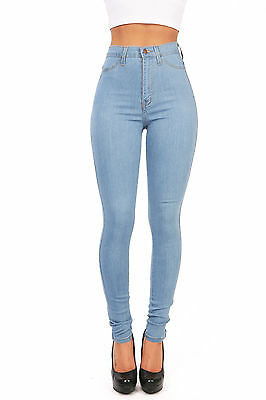 New Vibrant Light Denim Wash High Waisted Skinny Jeans in Soft Stretchy Fabric