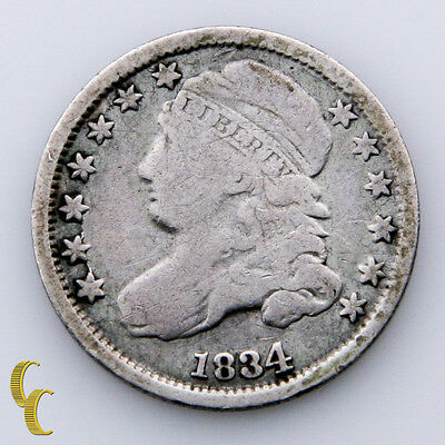 1834 Capped Bust Silver Dime 10c Large 4 (G) Good Condition