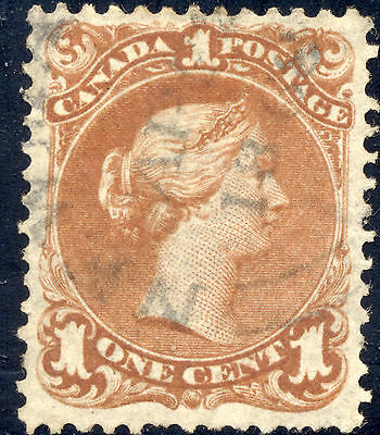 F+ Used 1¢ Brown Red Large Queen #22b - Thin Paper Variety - Dated AP 22/ 1868