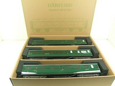 Darstaed O Gauge BR Green Bulleid Corridor Coaches x3 Set B 2/3 Rail B/New Boxed