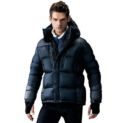 FUERZA Mens Winter White Duck Down Feather Hooded Parka Jacket Coat Black Medium