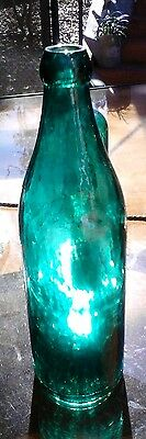 BEAUTIFUL TEAL GREEN WHITTLED EMBOSSED CONGRESS MINERAL WATER BOTTLE 1880s