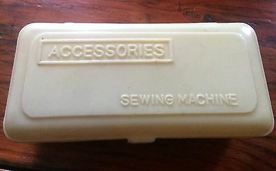 Vintage White Plastic  Sewing Machine Box With Accessories.
