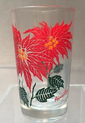 1950's Boscul Peanut Butter 5 oz Maroon Red Poinsetta Juice Glass Tumbler 3 3/4""