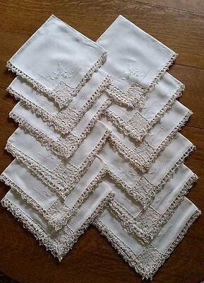 Gorgeous Lace And Linen Antique Dinner Napkins~12 Total