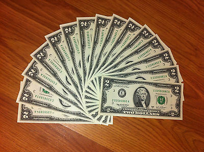 Two Dollar$ Usa Notes - Consecutive $2 Currency - New Crisp Money, Uncirculated.
