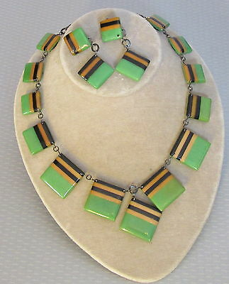 30s vtg French art deco LAMINATED GALALITH NECKLACE & EARRING SET layered blocks