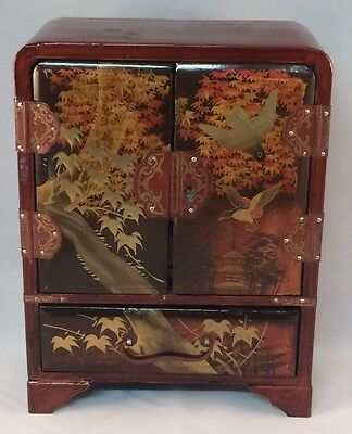 Japanese Wooden Lacquered Jewelry/Trinket Box
