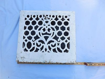 Antique Wall Mount Heat Grate House Cast Iron Restore Art Deco Vent Vtg. White