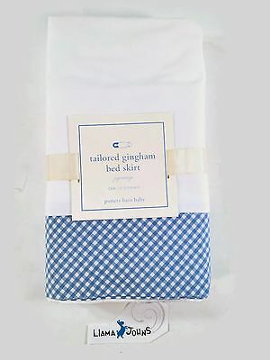 Pottery Barn Baby Kids Tailored Blue and White Gingham Crib Bed Skirt