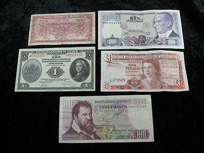 5 assorted misc old world foreign currency banknote money lot #1 FREE S & H