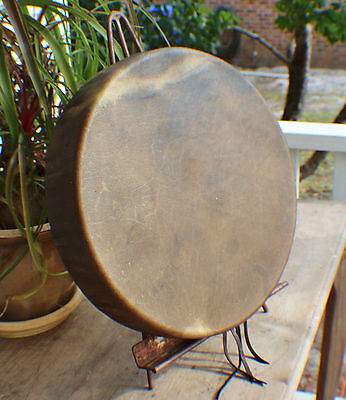 "15"" Buffalo Hide Hand Drum Native Made William Lattie Cherokee Cert of Auth"