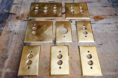 8 Antique Push Button Light Switch Plates Brass Electrical Salvage Sockets Cover