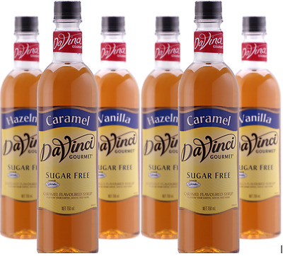 6 x Davinci Sugar Free Syrup 750ml (Caramel & Vanilla available)