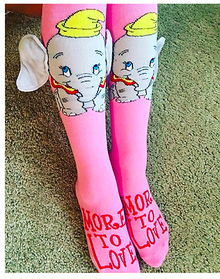 new NWT Women Ladies 3D Dumbo Knee High Socks Size 9-11 NWT pink gray