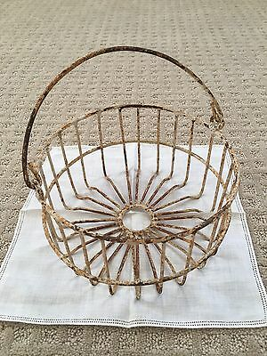 Antique Metal Egg Basket Rustic w/ Handle Primitive Gathering Old Farm Kitchen