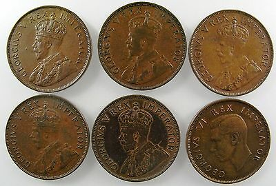 SOUTH AFRICA. Penny. 1930, 32, 34, 35, 36 and 1938. XF-AU