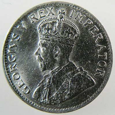SOUTH AFRICA. 1924 Silver 3 Pence. George V, About Uncirculated. KM-15A.