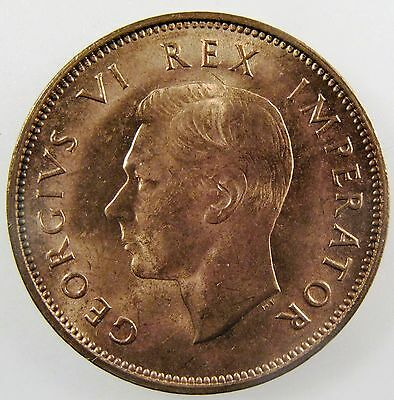 SOUTH AFRICA. 1937 1/2 Penny. George VI. Red BU. KM-24.