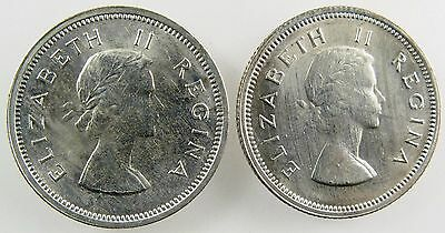 SOUTH AFRICA. 1964 and 1956 Silver Shilling, Uncirculated. KM-49.