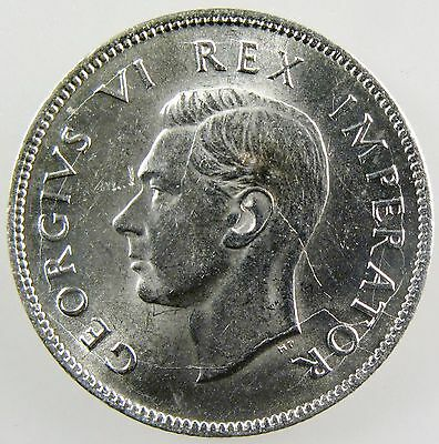 SOUTH AFRICA. 1943 George VI Silver 2 Shillings. Uncirculated. KM-29.