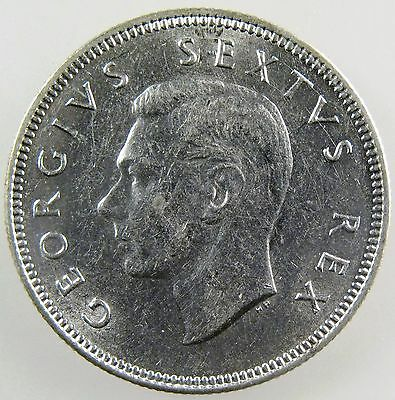 SOUTH AFRICA. 1949 George VI Silver 2 Shillings. AU KM-38.1.