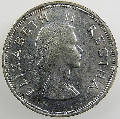 SOUTH AFRICA. 1954 Queen Elizabeth II Silver 2 1/2 Shillings, Uncirculated KM-51