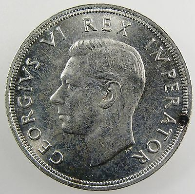 SOUTH AFRICA. 1947 George VI Silver 5 Shillings. UNC. KM-31.