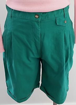Retro 1980s PEPPERMINT GREEN Pleated Front Knee Length Pedal Bike Shorts size 10