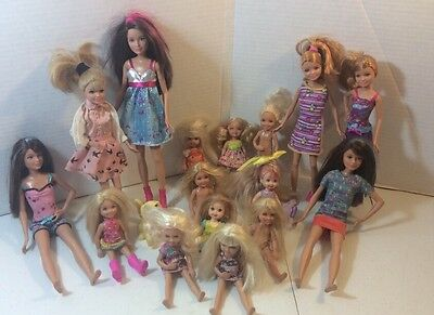 Large lot of barbie kelly dolls stacy and friends dolls