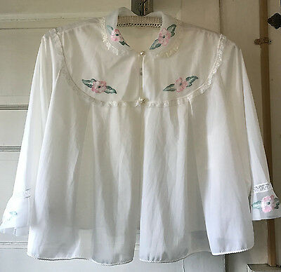Vintage Henson Bed Jacket White with Pink Flowers Size Large