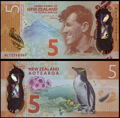 New Zealand Third Prefix $5 AC15 Wheeler Re-Design Polymer Banknote Issue pNEW