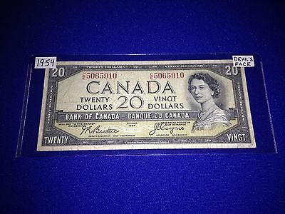 Bank Of Canada 1954 $20.00 Devils Face Note - Lot F-4
