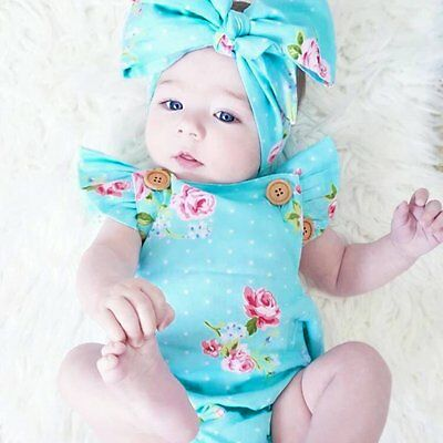Newborn Toddler Kid Baby Girl Floral Romper Jumpsuit Sunsuit Outfits Clothes Set