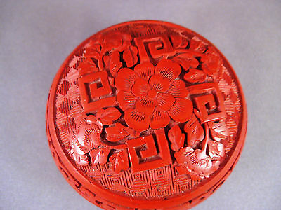 Vintage Chinese Carved Red CINNABAR Round Peony Box Blue Enamel Brass with Label