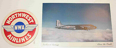 NORTHWEST AIRLINES,Northwest Passage POSTCARD and Decal ....AIRLINE ISSUE