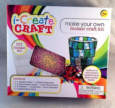 Mosaic Tile Craft Kit Candle Glass Votive & Trinket Box Of Crafts Gift Set