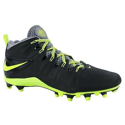NEW! $90 Nike Huarache 4 LAX Lacrosse/Football Cleats Anthracite/Volt Size 10