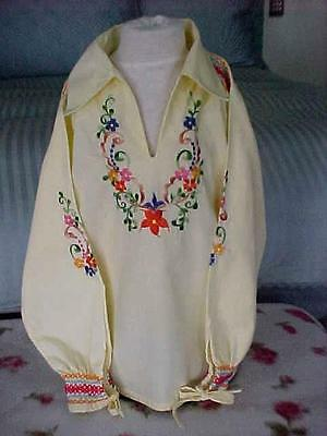 Little Girls 1960s Hippy Blouse ~ Embroidered Flowers ~ Vintage Flower Child Top
