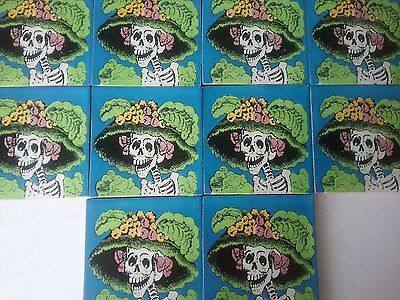 MEXICAN TALAVERA TILES X 10 X 10.5cm X 10.5cm each  DAY OF THE DEAD