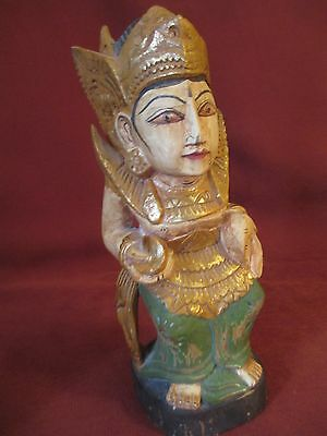Vintage Thai Spirit House Carved Wood, Polychrome Finish, Sculpture,