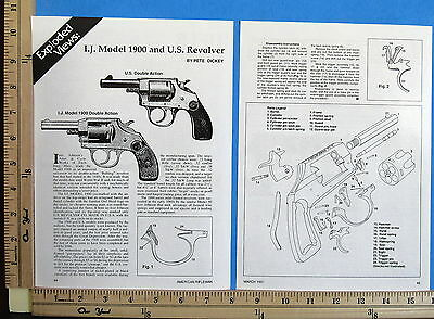 1991 IVER JOHNSON 1900 & US REVOLVERS 2-Pg EXPLODED VIEWS Magazine Article 8720