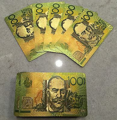 Playing Card Gold Plated Poker Australian Aussie $100 note Design Gift