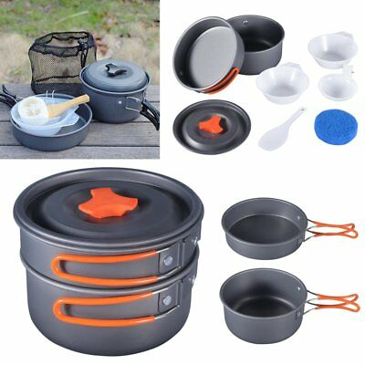 8 IN 1 Camping Kochgeschirr Outdoor Koch-Set Campinggeschirr, Töpfe Lager in &*