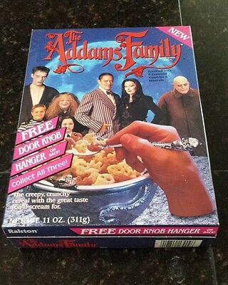 Addams Family Cereal 1991 unopened box with door knob hanger