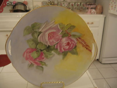 Beautiful Vintage Hand Painted HP Handled Plate Pink Roses D&Co. Limoges France