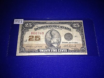 Dominion Of Canada 1923 Shinplaster 25 Cent Note Campbell-Clark, Lot J-1