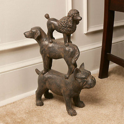 Three Stacked Dogs Statue - French Bulldog Lab & Poodle - Cast Resin Doorstop